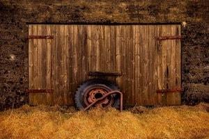 Old shed doors with tyre