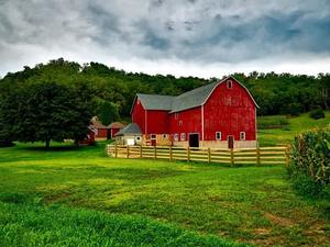 Red barn on country side
