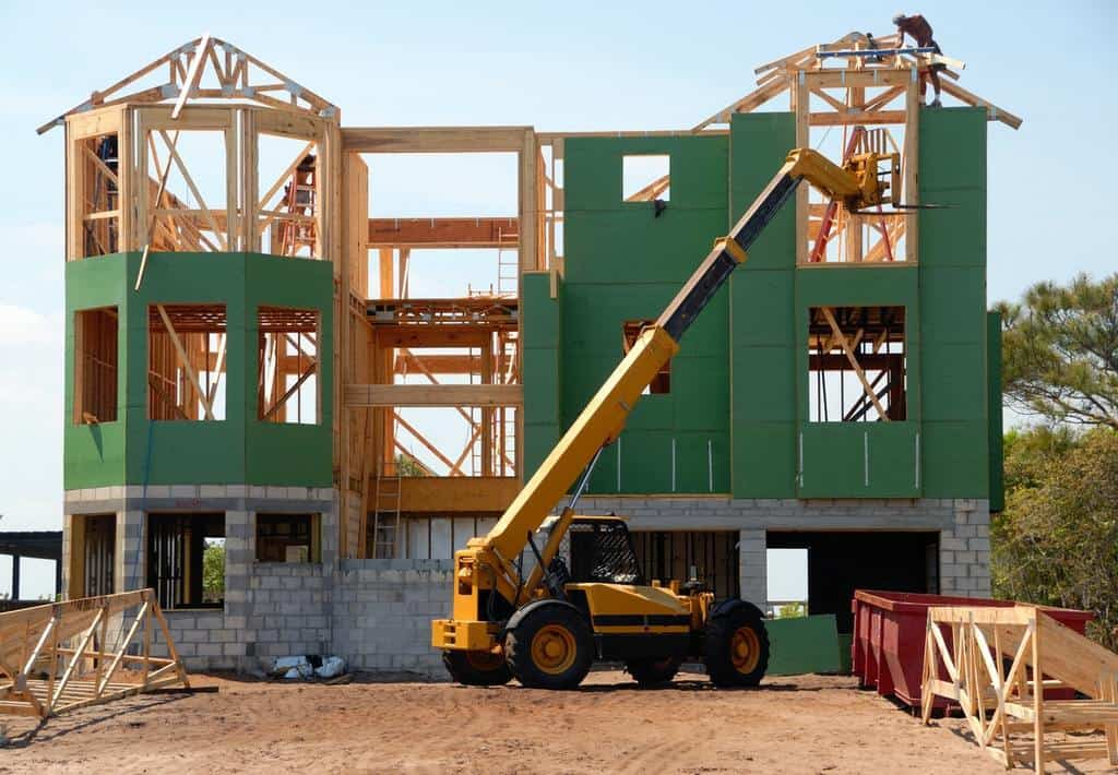 Wood construction: A house being built with wood