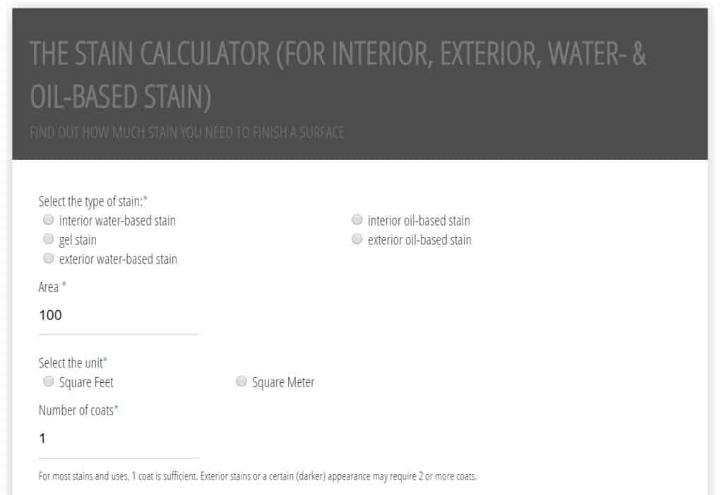 Screenshot Stain Calculator: It calculates how much interior, exterior, water-based or oil-based stain is needed for a project