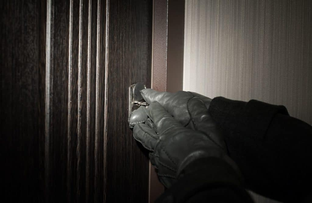 Front doors are typical entry points for burglars